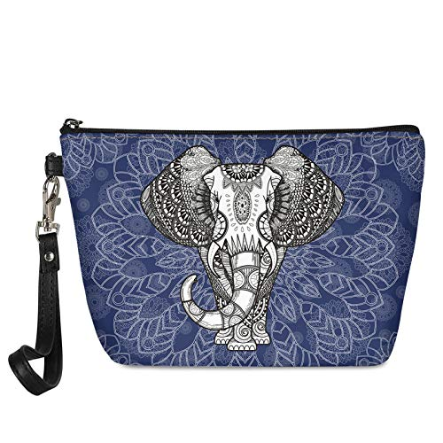 HUGS IDEA Bolsa de cosméticos para adolescentes, diseño de mandala, elefante, bohemia, étnico, tribal, viaje, portátil, asa de almacenamiento, bolsa de maquillaje hipster