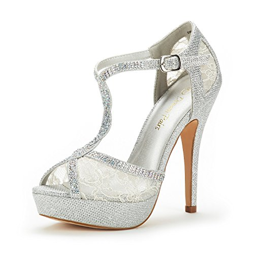 DREAM PAIRS Women's Swan-16 Silver Fashion Stilettos Peep Toe Pump Heeled Sandals Size 7 B(M) US