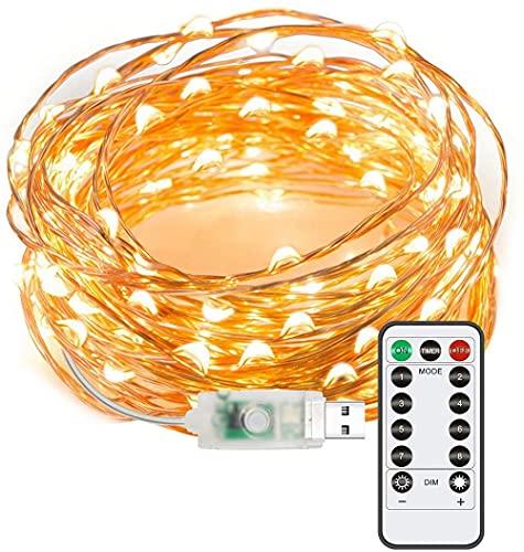 Aneagle Guirnalda de luces de hadas, 8 modos USB, enchufe de hadas, luces de jardín de Navidad, luces de alambre de cobre con temporizador remoto para dormitorio, boda, Navidad (5M50LED)
