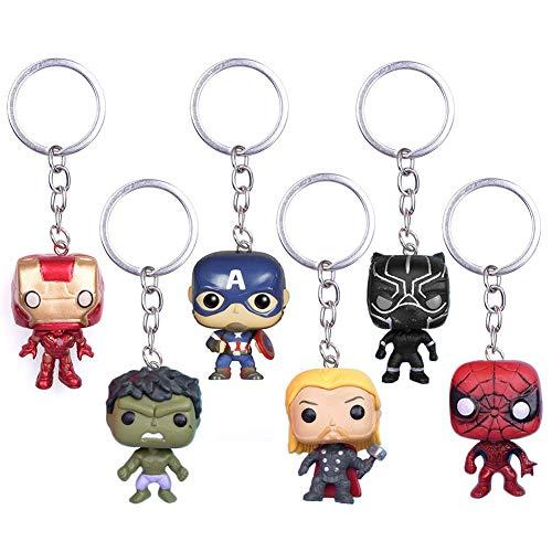 INTVN 6 Pcs Marvel Super héros Porte-clés Super héros The Avengers Deadpool Pendentif Porte-clés Noir Panthère Porte-clés Thanos Porte-clés