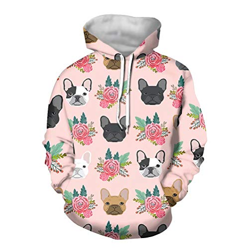 AFPANQZ French Bulldogs Lovers Women's Hoodies Sweaters Sweatshirt Long Sleeves Front Kangaroo Pockets Thin Autumn Pajama Shirt Size L Sports Running Outdoor Casual Costume Cream Pink