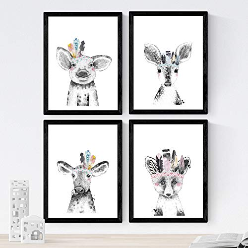 Nacnic Set de 4 láminas de Animales Infantiles con Plumas De Colores,en tamaño A4, Poster Papel 250 gr Marco