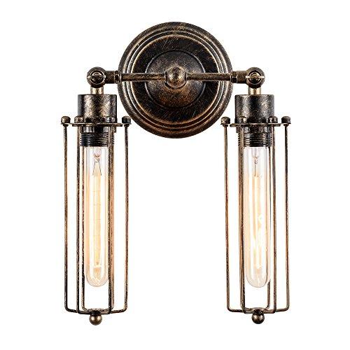 LULING Lámpara de pared industrial con iluminación vintage, ajustable, alambre rústico de...