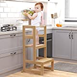 AMBIRD Toddler Step Stool, 3 Adjustable Height Kitchen Helper Stool for 18-48 Months Kids, Wooden Toddler Kitchen Stool Helper with Rail & Non-Slip Mat for Kitchen & Bathroom Sink (Natural Color)