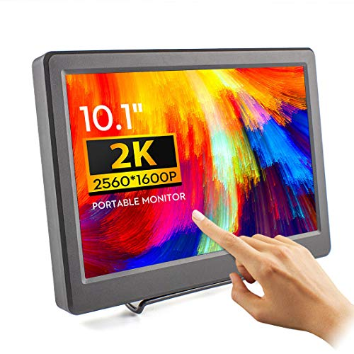 Touchscreen Monitor - ELECROW 10,1 Zoll 2K USB Portable Monitor IPS Bildschirm Tragbar 2560×1600 Full-HD Tragbarer Display mit USB-C/Typ-C HDMI für Raspberry Pi 4B 3B+, PC, Game Consoles