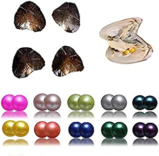 Pearl Oyster 10 Color 10PCS (20Pearls) Twins Freshwater Cultured Pearl Oyster Round Pearl Internal Random Color (6.5-7.5mm) Available for Jewelry Making or Birthday Gifts