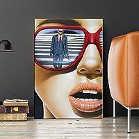 """抽象的なサングラスファッション女性壁アート絵画キャンバスポスタープリントアートワーク写真リビングルームの家の装飾15.7"""" x23.6""""(40x60cm)フレームレス"""