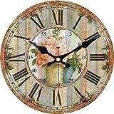 VIKMARI Reloj De Pared De Interior De Madera, Movimiento De Cuarzo, Relojes De Pared Silenciosos Sin Tictac, Números Romanos, Relojes Decorativos Grandes |Flores Rosadas En Florero|14'