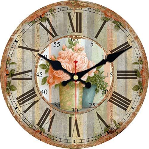 VIKMARI Reloj De Pared De Interior De Madera, Movimiento De Cuarzo, Relojes De Pared Silenciosos Sin Tictac, Números Romanos, Relojes Decorativos Grandes  Flores Rosadas En Florero 14'