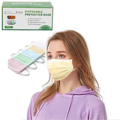 50Pcs 3-ply Face Mouth Surgical Hygiene Protection Pads in a Box, Colorful Earloop Disposable_Face_Masks for Adult,Oral Protection Filter,High Filtration and Ventilation Security