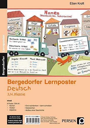 Lernposter Deutsch 3./4.Klasse: 6 Poster für den Klassenraum (Bergedorfer® Lernposter)
