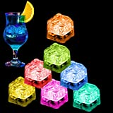 Light Up Ice Cubes, 12 Pack Multi Color Led Ice Cubes for Drinks with Changing Lights, Reusable Glowing Flashing Ice Cube for Club Bar Party Wedding Decor