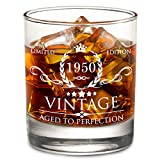 AOZITA 70th Birthday Gifts for Men - 1950 70th Birthday Decorations for Men, Party Supplies - 70th Anniversary Gifts Ideas for Him, Dad, Husband, Friends - 11oz Whiskey Glass