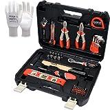 Juego de herramientas YATO de 60 piezas | incluye martillo, llave de loro, alicates, nivel de burbuja, cinta métrica, brújulas y puntas + guantes de trabajo YATO de nailon blanco talla 9