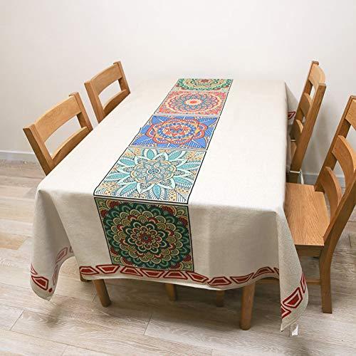 Michorinee - Mantel rectangular bohemio de algodón y lino mezclado,...