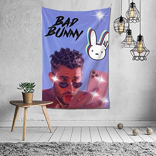 Tapiz para colgar en la pared, diseño de conejo con ganchos para dormitorio, sala de estar, decoración de dormitorio, 152 x 106 cm