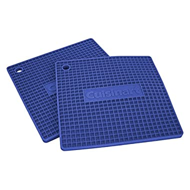 """Cuisinart Multipurpose 7x7"""" Square Flexible Silicone Kitchen Tool, Trivet/Pot Holder, Spoon Rest, Jar Opener, Coaster, Heat Resistant Pad (up to 500 degrees F) Blue 2pk"""