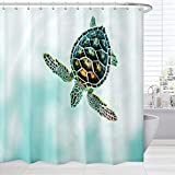 Ocean Shower Curtain Set, Sea Turtle in White and Turquoise Bath Curtain Art Printing, Nautical Waterproof Fabric Shower Curtain with Hooks, 72x 72 Inch