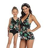 WBLKD Mamá Y Yo Dos Piezas De Traje De Baño Familiar Juego De Traje De Baño Chicas Conjuntos De Bikini Green- Child 116