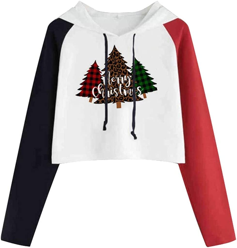 Girl's Hoodie, Misaky Christmas Tree Print Colorblock Long Sleeve Casual Pullover Sweatshirt Cropped Tops