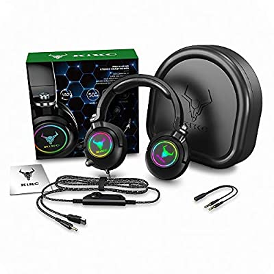 Kikc ET600 Xbox One Headset, PS4 Headset for PS5, PSP, PC, Video Game, Laptop, Mac. (Rotating Ear Shell Gaming Headset, Storage Swivel Microphone) from Kikc