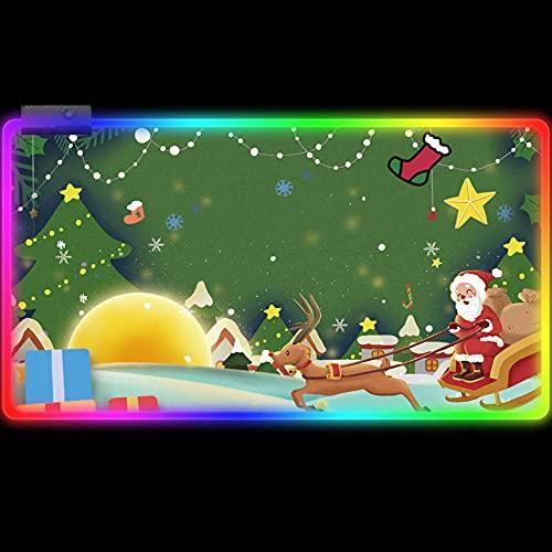 Alfombrillas de ratón Verde Grande Teclado RGB Dibujos Animados Lindos Ciervos Papá Noel,Ratón LED Extendida Superficie Lisa,Escritorio De Tamaño Completo 600x300 mm