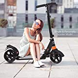 Hesyovy Leicht Scooter T-Style Stabile, aus Aluminiumlegierung, Klappbar und Höhenverstellbar, Big Wheel 195mm Räder Cityroller für Erwachsene (Schwarz)