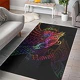XuJinzisa Alfombra De Área De Alfombra Impresa En 3D De Estilo Polinesio Hawaiano Alfombra De Franela Súper Suave Alfombra De Sala De Estar Alfombra De Dormitorio 80X150Cm N379