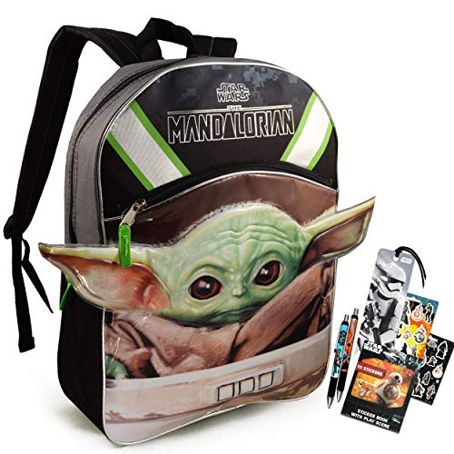 Mandalorian Backpack Set Boys Girls Kids ~ 5 Piece Baby Yoda School Bag with Star Wars Pens, Stickers, and More (Star Wars School Supplies)