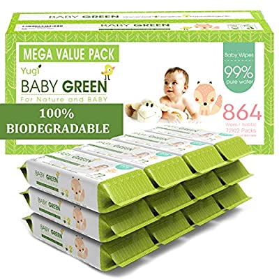 Baby Green Biodegradable Baby Wipes Unscented – Value Pack (12 Packs of 72) 864 – 99% Pure Water Plastic FREE Moist Newborn Diaper Wipes Fragrance Free, Wet Wipes for Babies & Adults Sensitive Skin