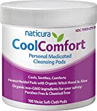 Naticura: CoolComfort Personal Cleansing Pads with Organic Witch Hazel and Aloe Vera - All-Natural and Fast Acting Wipes for Hemorrhoid Burning, Itching, Pain and Swelling - 100 Pads - No Parabens