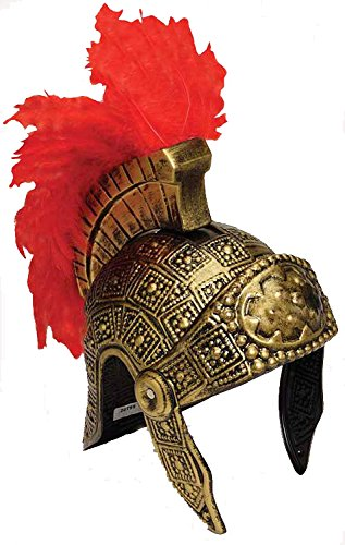 Roman Helmet Gold With Red Feathers