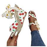 Xudanell Womens Sandals Casual Dot Lace-up Wedge Sandals Summer Dressy Beach Flip Flops Platform Heel Sandals for Women Cherry