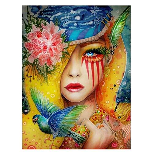 Schilderen op nummer, abstracte afbeelding, kleurrijke vrouw op canvas om op cijfers te schilderen. 40X50CM Diy frame Woman Painting