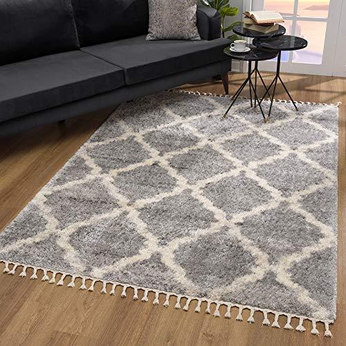 SANAT Wohnzimmer Teppich Rauten Design - Hochflor Tepiche für Wohnzimmer, Schlafzimmer, Küche - Shaggy Teppich Grau, Größe: 80x150 cm