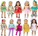 ZITA ELEMENT 10 Set Puppenkleidung Kleider für 40cm-46cm Puppen und 16-18 Zoll Dolls Traumkleid Bekleidung Blumenkleid Sommerkleid Puppenkleider -