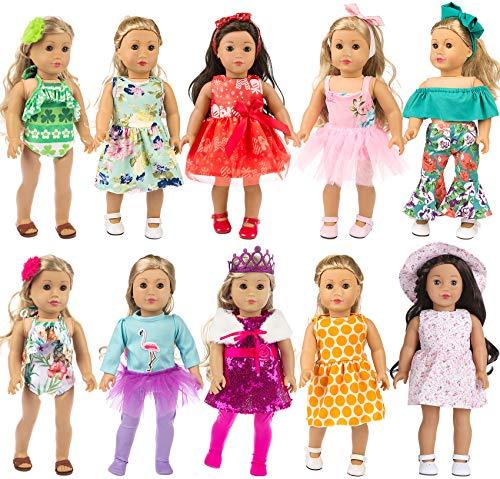 ZITA ELEMENT 10 Set 24 PCS Ropa para Muñecas Ropa para Muñecas de 40 cm-46 cm y 16-18 Pulgadas Americal Girl Dolls Vestido de Ensueño Vestidos Vestido Floral Vestido para Muñecas