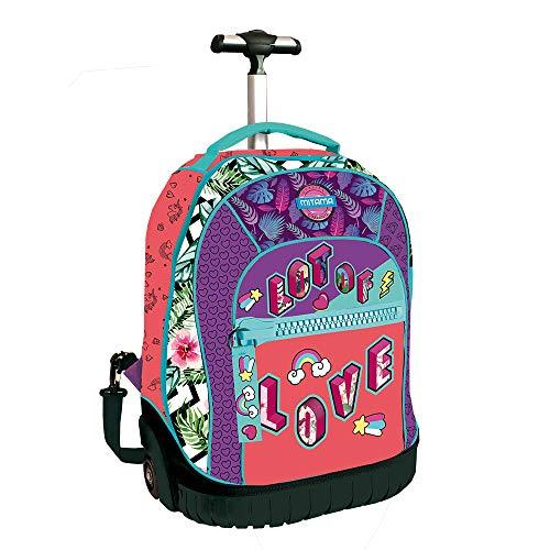 Zaino Scuola Trolley Run Girl Mitama Love Fluo + Cappellino coordinato alla grafica
