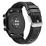 Coholl Correa Compatible con Huawei Watch GT 2/Huawei 46mm Sport/Classic/Active/Elite,Correa de Repuesto Cuero Hebilla Liberación Rápida para 22 mm cuero,Negro