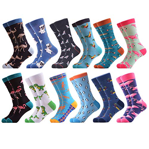 WeciBor Calcetines Hasta La Pantorrilla Para Hombre Estampados Hombres Ocasionales Calcetines Divertidos Impresos de Algodón de Pintura Famosa de Arte Calcetines de Colores de moda (ES063-46)