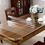 PVC Imperméable Protection De Table, épaissir Résistants à La Chaleur Antidérapant Nappe,rectangulaire Plastique Nappe De Table Lavable Bois Tapis De Souris-transparent 1.5mm 70x100cm(28x39inch)