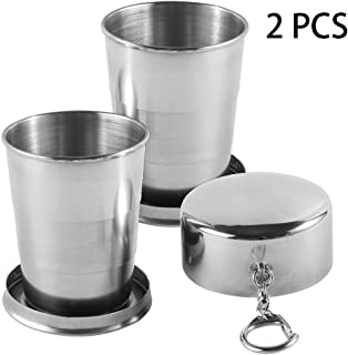 Stainless Steel Collapsible Cup,2 Pack/240ML Telescope-shaped Collapsible Cup with Keychain Retractable Cup Pocket Metal Telescopic Cup for Excursion Outdoor Travel Camping Picnic Hiking Backpacking