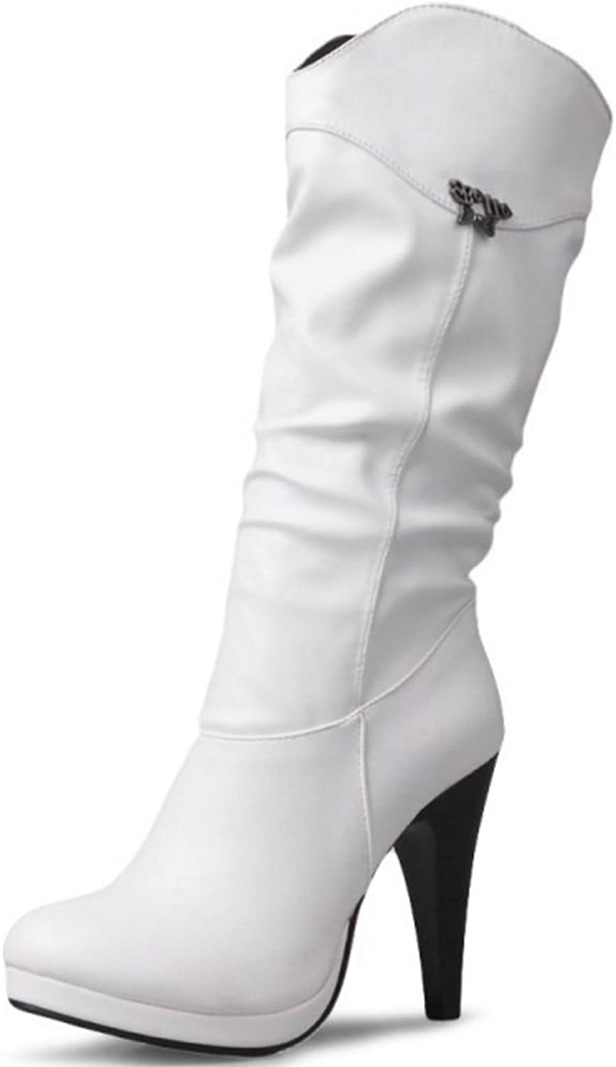 KemeKiss Women's Fashion Slouch Half Boots Stiletto High Heels for Party