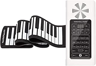 Hand-rolled Piano 61 Key Thickening Silicone Keyboard Piano Foldable Portable Musical Instrument (Color : White)