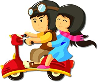 Bhai Please Couple Scooter Ride Wooden Fridge Magnet (Pack of 1) Valentine, Anniversary, Couple and Love Gift and Decoration