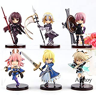 8cm (3.1 inch) 6pcs/Set Fate Grand Order Figure (Fate Jeanne D'Arc Mash Kyrielight Scathach Tamamo No Mae Saber Okita Souji)