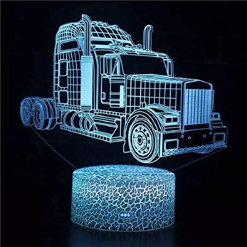 Lámpara de mesa de acrílico multicolor 3D con base de grieta con luz nocturna de camión divertida