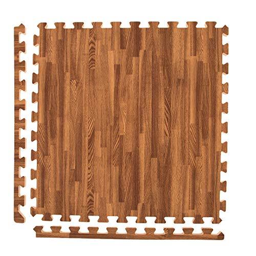 IncStores - Premium Soft Wood Interlocking Foam Tiles (Dark Oak, 12 Tiles)
