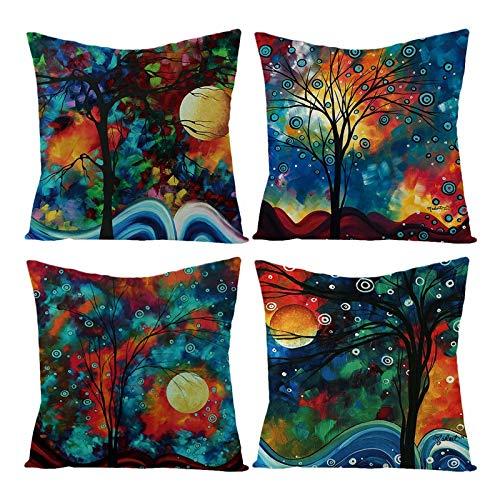AmDxD Juego de 4 fundas de almohada cuadradas de lino, 40 x 40 cm, pintura al óleo, árbol, luna, color azul, verde y negro