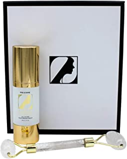 ZAMAN SKINCARE Rise & Shine Skin Serum - Moisturizing Kit with Onyx Facial Roller - Cruelty Free & Vegan Anti Aging Serum - Professional Grade Skin Repair/Care Product, 1 Fl Oz, MSRP $90.00
